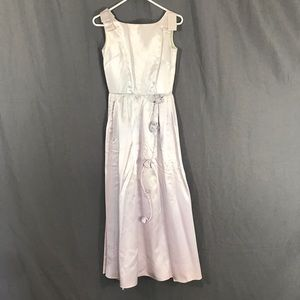 Vintage 50s Lavender Satin Formal Dress XS